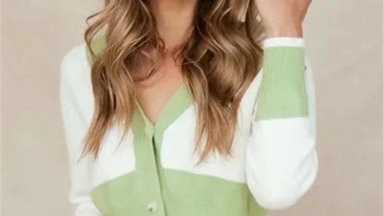 V-neck Long Sleeve Patchwork Color Knitwear Cardigan