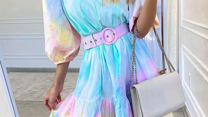 Tie-Dye Ruffles Dress with Sashes