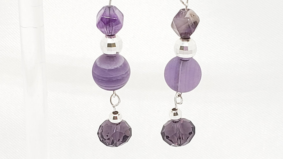 Frosted Amethyst Bead and Crystal Earrings