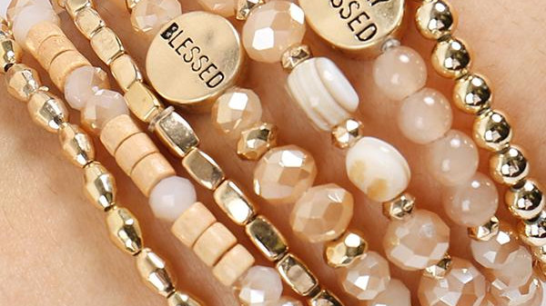 """Hdb2834 - """"Truly Blessed"""" Charm Mix Beads Bracelet"""