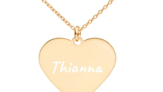 Personalized Engraved Silver Heart Necklace