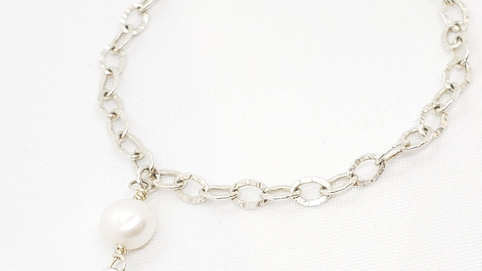 925 Sterling Silver Bracelet with Pearl Charm