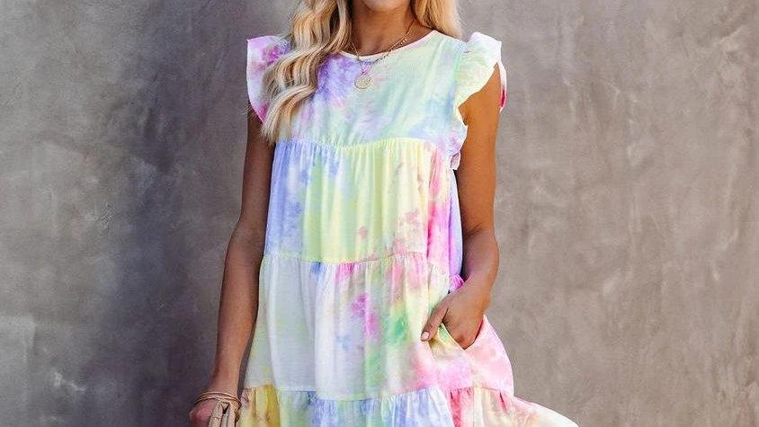 O-neck Sleeveless Tie-dye Printed Short Dress