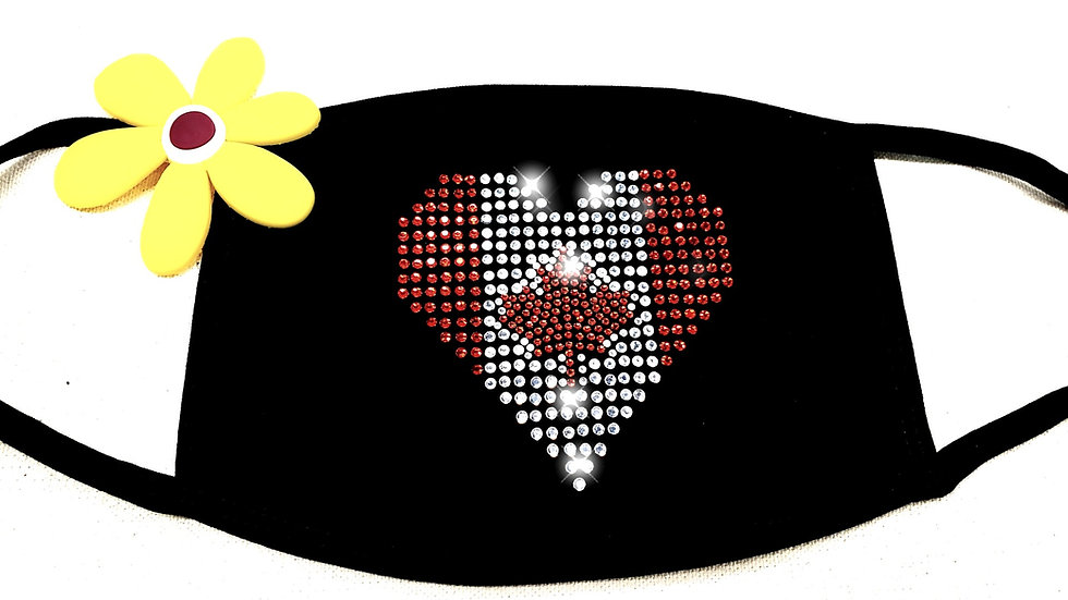 Canadian Heart Rhinestone Face Mask