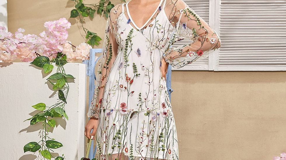 V-neck Embroidery Mesh Sheer Dress Without Cami Dress