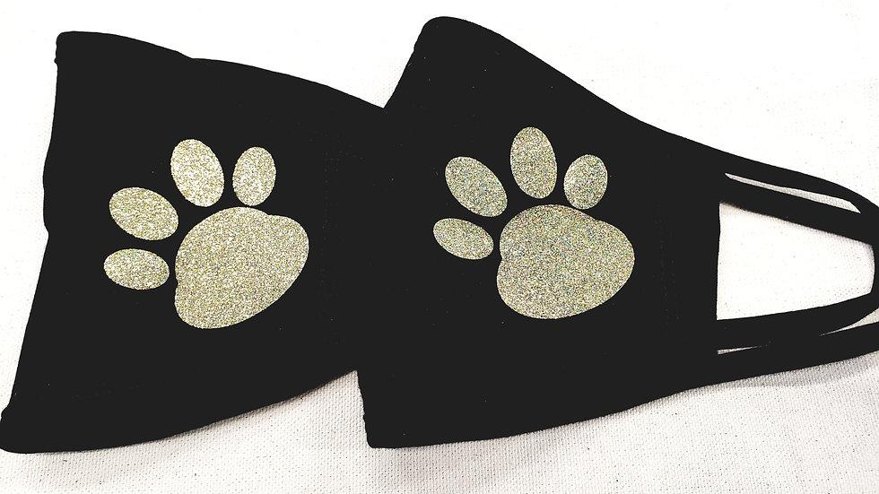Set of 2 Glitter Paw Face Mask
