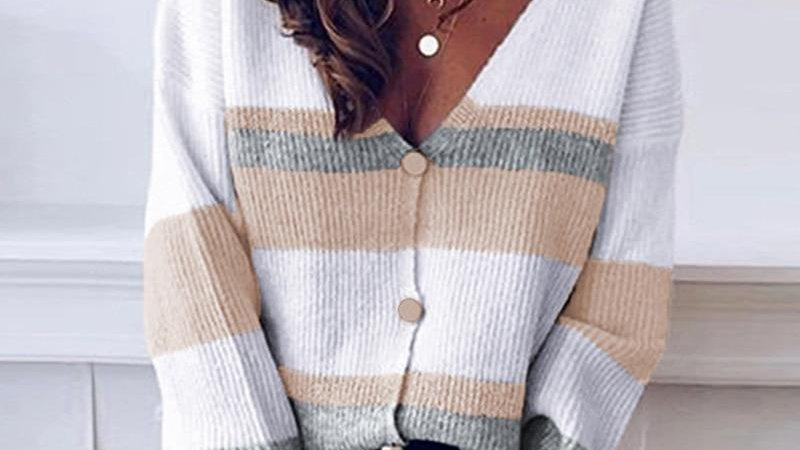 Patchwork Knitted Sweaters Lady Long Sleeve Cardigan