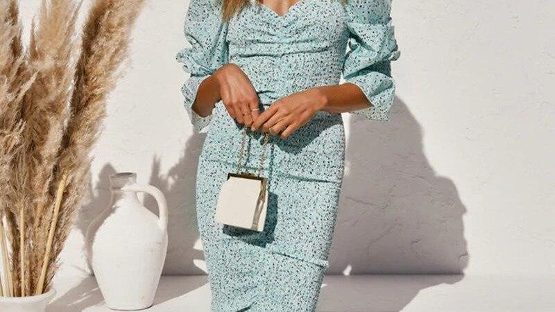 Women Elegant Draped Long Dress V Neck Print