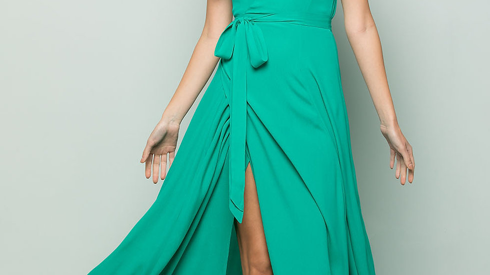 FLOWY MAXI WRAP DRESS - Emerald