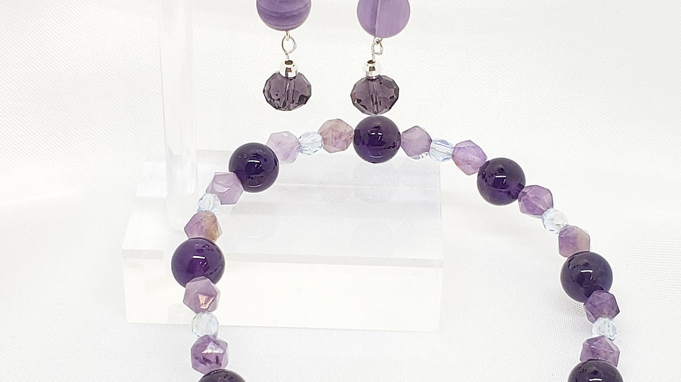 Amethyst Bracelet and Earrings