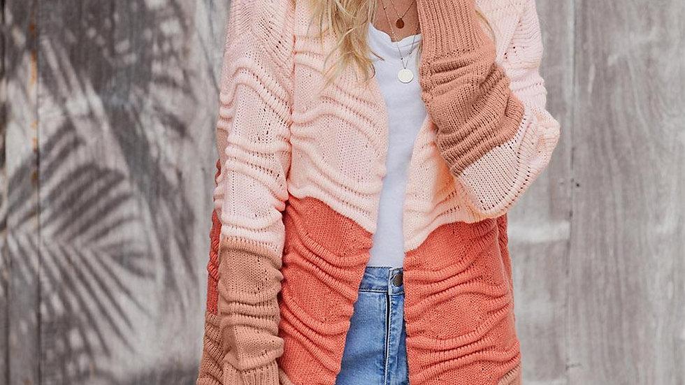 Pink Orange Colorblock Knit Cardigan
