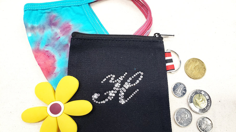 Personalized Small Square Rhinestone Pouch