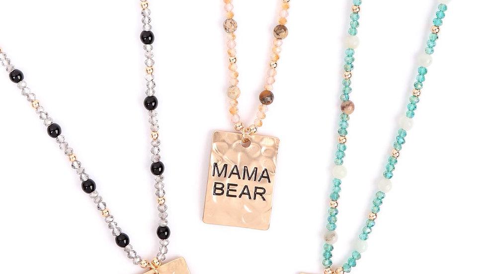 "Myn1371 - Hammer Square ""Mama Bear"" Pendant Necklace"