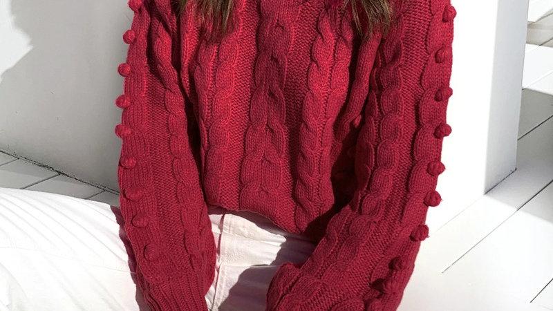 Ball Pom Pom O- Neck Women Knitted Sweater