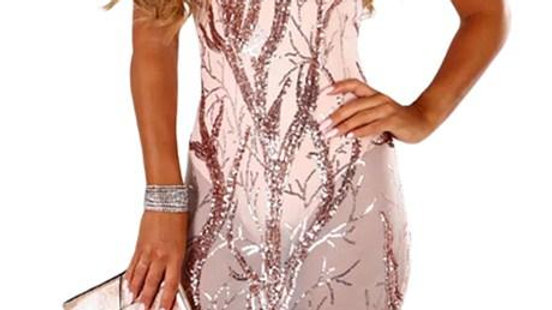 Pink Sheer Sequined Midi Club Bodysuit Dress