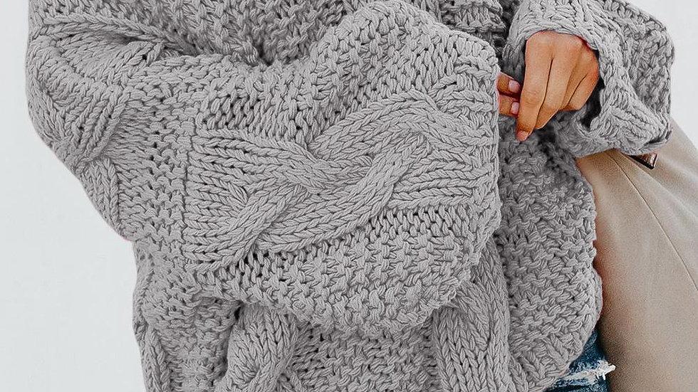 Gray Bubblegum V-Neck Braided Knit Sweater