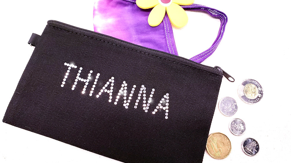 Personalized  Rectangle Rhinestone Pouch