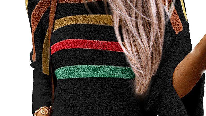 Women Loose Striped Long Sleeve Knitwear Pullover