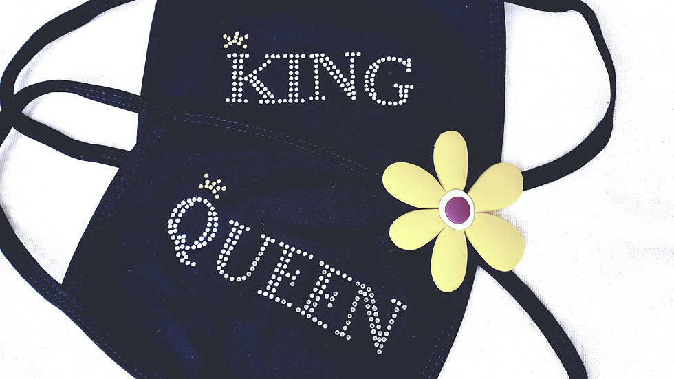 SET of QUEEN/KING Rhinestone Face Mask