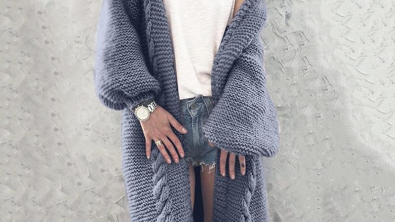 Loose Solid Color Long Sleeve Sweater Cardigan Coat