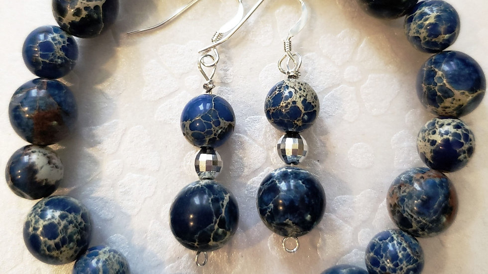 Blue Emperor Jasper Bracelet and Earrings