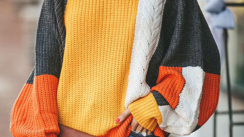 Patchwork Lantern Sleeve Knitted Sweater