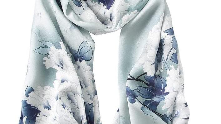 100% Mulberry Silk Scarf-White Bloom