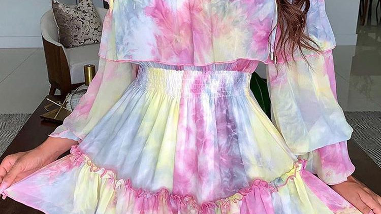 Off Shoulder Tie-dye Printed Long Sleeve Party Dress