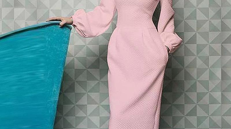 Elegant Office Ladies Lantern Sleeve Long Dress