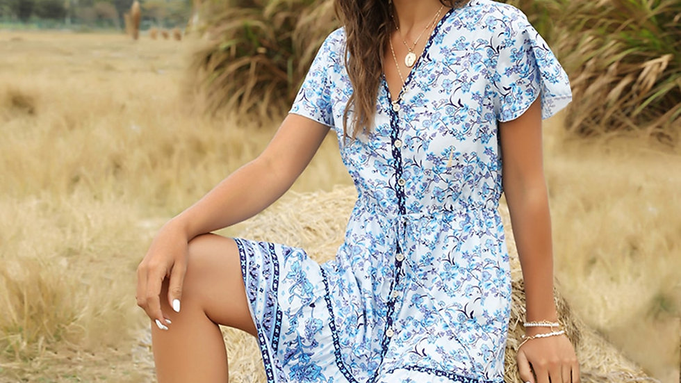 Button Front Ruffle Hem Floral & Tribal Dress