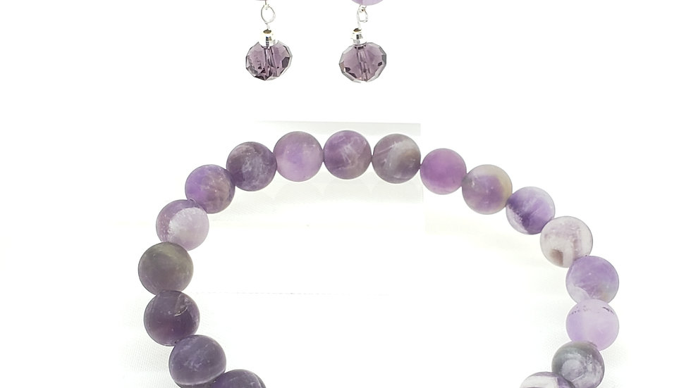 Frosted Amethyst Bracelet and Earrings
