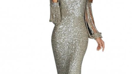 Silver Sequin Fringe Sleeve Party Maxi Evening Dress