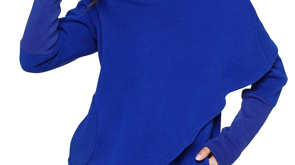 Royal Blue Tulip Wrap Cape Style Long Sleeve Hoodie