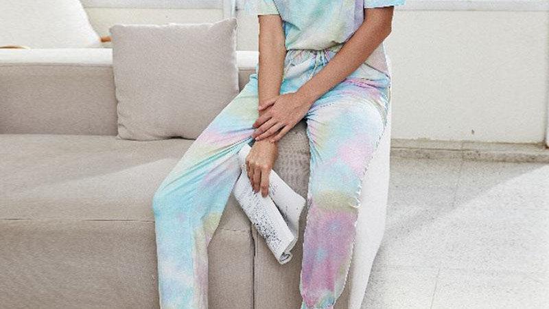 Women Tie Dye Printed Casual O-neck Short Sleeve Shirt & Pant