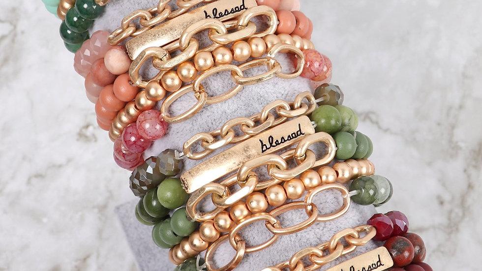 "Hdb2996 - ""Blessed"" Charm Multiline Beaded Bracelet"