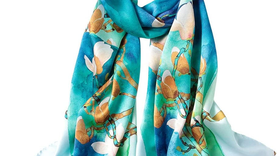 100% Mulberry Silk Scarf-Green Multi
