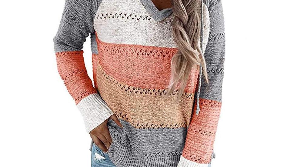 Hit Color Long Sleeve Hoodies Knitted Sweatshirts