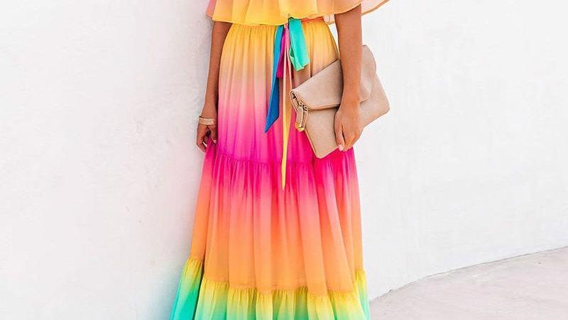 Off Shoulder Gradient Ombre Color Belt Ruffles Maxi Chiffon Dress