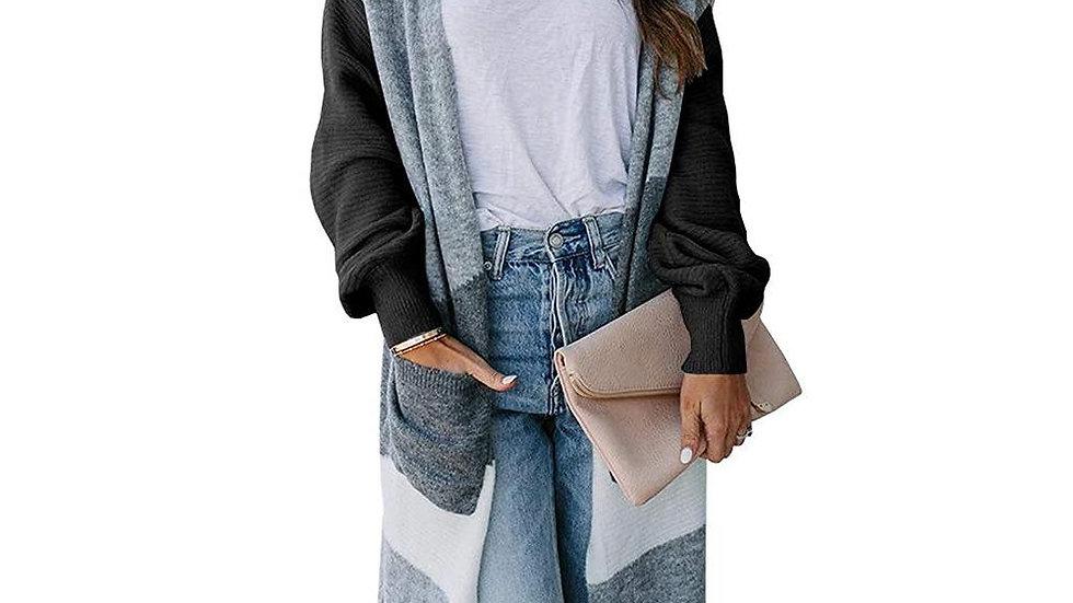 Women Lantern Sleeve Patchwork Color Sweater Coat