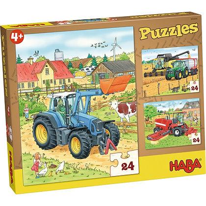 Puzzle tracteur et Cie Haba