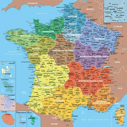 Puzzle 100 pièces en bois, France et départements