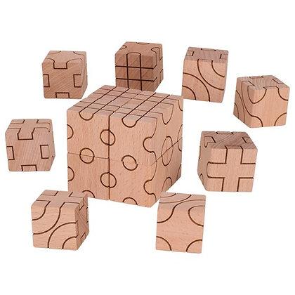 Jeu puzzle cubes géométriques en bois