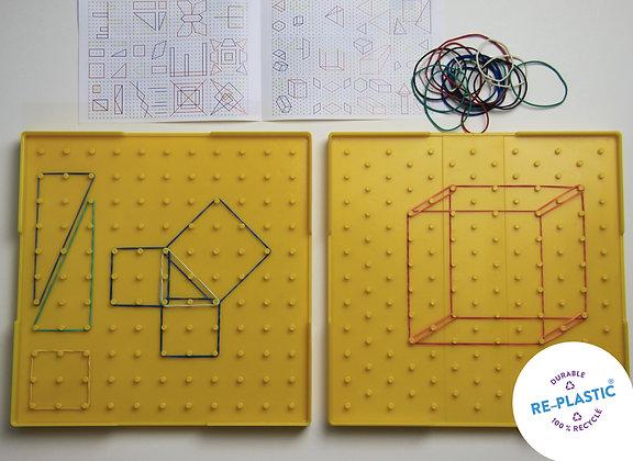 Géoplan planche géométrique double carré/oblique