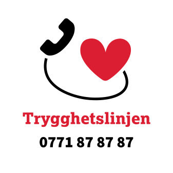 A heart connected to a phone. Text reads Trygghetslinjen 0771878787
