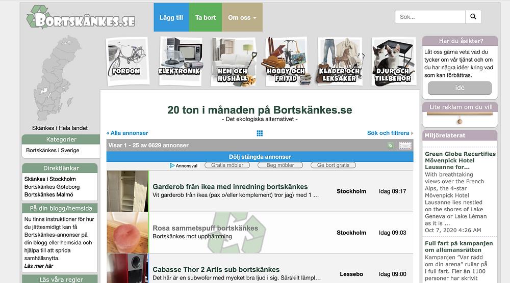 Screenshot of the website Bortskanes.se
