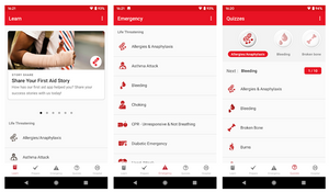 of four mobile phones each showing a mobile application by Red Cross USA