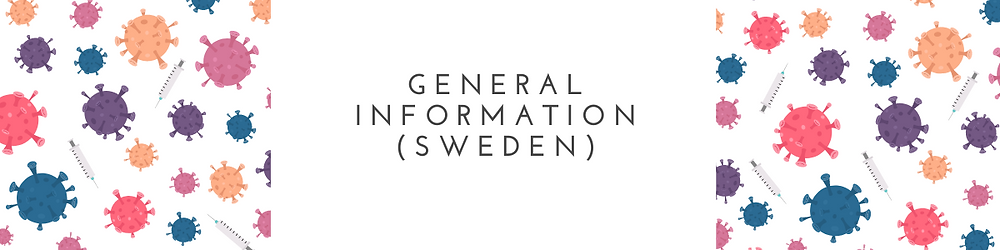 A banner with the text General Information (Sweden), with an illustration of virus.