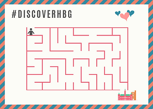 Maze with a stick figure on the top end and the Helsingborg town house and fort on the other low end. There is also text on top which says #DiscoverHBG
