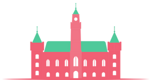 Illustration of the Helsingborg city hall with three towers