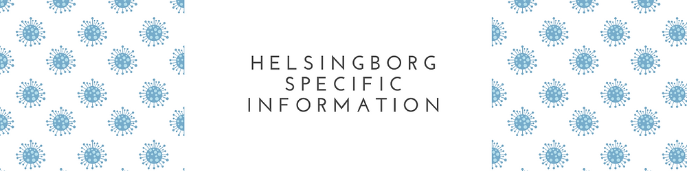 A banner with the text Helsingborg specific information with an illustration of virus.